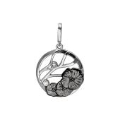 Кулон Цветы с фианитами, серебро и чернение