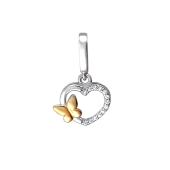 Подвеска Сердце и Бабочка с фианитами из серебра 925 пробы с позолотой