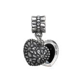 Кулон Шарм для браслет открывающееся Сердце, серебро с чернением