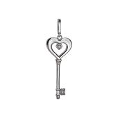 Подвеска Ключ с сердцем и фианитами, серебро