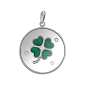 Кулон Клевер Четырехлистник с стеклянном круге с плавающими фианитами и зеленой эмалью, серебро