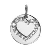 Подвеска Сердце с фианитом из серебра 925 пробы