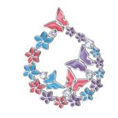 Подвеска Бабочки и цветы с эмалью и фианитами из серебра 925 пробы