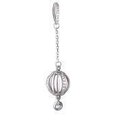Подвеска Китай длинный шар с фианитами на цепочке, серебро