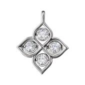 Кулон Четырехлистник с фианитами, серебро
