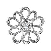 Кулон Цветок с фианитом, серебро