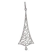 Подвеска Индия длинная с орнаментом и фианитами, серебро