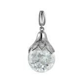 Кулон стеклянная колба с кристаллами, серебро