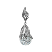 Подвеска со стеклянной колбой и кристаллами, серебро