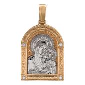 Казанская Икона Божьей Матери в окладе с куполом, четыре фианита, образ из белого золота на красном золоте, 30*23мм, с ушком - 42мм