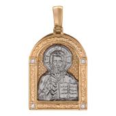 Золотая подвеска Николай Чудотворец, кулон в окладе с фианитами, красное и белое золото