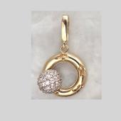 Подвеска Небо с вращающимся шариком с фианитами на круге с узором звезда, желтое и белое золото 585 проба