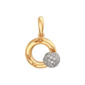 Подвеска Небо с вращающимся шариком с фианитами на круге с узором звезда, красное и белое золото 585 проба
