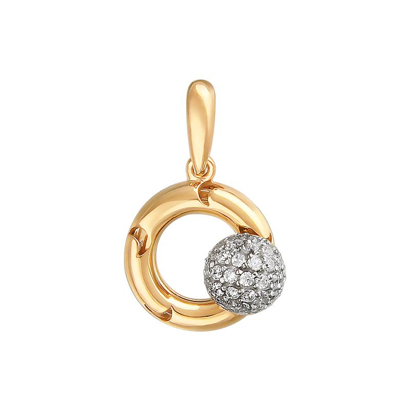 Подвеска Небо с вращающимся шариком с фианитами на круге с узором луна, красное и белое золото 585 проба