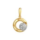 Подвеска Небо с вращающимся шариком с фианитами на круге с узором цветок, желтое и белое золото 585 проба