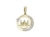 """Кулон """"Полумесяц"""" и Мечеть с фианитами, желтое и белое золото 1.6 см"""