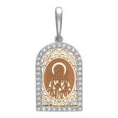 Святая Матрона Московская, оклад из красного золота в арочной рамке из белого золота с фианитами
