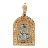 Господь Вседержитель в прямоугольном окладе, с фианитами, комбинированное золото, высота 30 мм