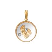 Кулон Пяточки Младенца в стекле с фианитом, красное и белое золото