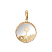 Кулон Ключик в стекле с фианитами, красное и белое золото