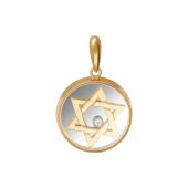 Кулон Звезда Давида в стекле с фианитом, красное и белое золото