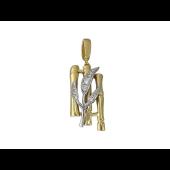 Кулон Бамбук с фианитами, желтое и белое золото