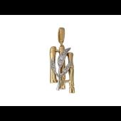 Кулон Бамбук с фианитами, красное и белое золото