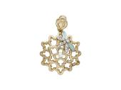 Кулон выпуклый, Стрекоза на цветке, эмаль, желтое золото, 585 пробы