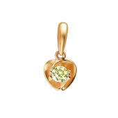 Подвеска Сердце с фианитами из красного золота 585 пробы