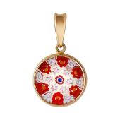 Кулон круглый маленький Мурано, красное золото