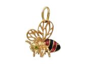 Кулон Пчела с цветными фианитами и эмалью, красное золото
