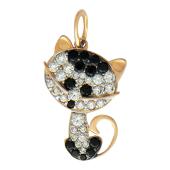 Котенок из мультика с черными и прозрачными фианитами, красное золото