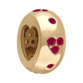 Подвеска-шарм с прорезью Сердце с цветной вставкой, красное золото, 585 проба
