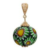 Кулон с шариком муранского стекла, красное золото