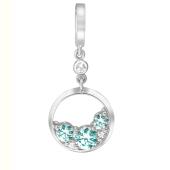 Кулон круглый с голубыми и прозрачными кристаллами Сваровски, белое золото 585 проба