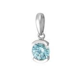 Кулон с круглым голубым кристаллом Сваровски, белое золото 585 проба