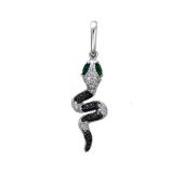 Кулон Змея с чёрными и прозрачными фианитами и зелеными и синими глазами, белое золото