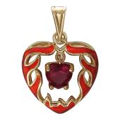Кулон Горячее Сердце, внутри языки пламени, вставка синтетический рубин, желтое золото