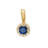 Подвеска круглая с синим и прозрачными фианитами, желтое золото 585 проба