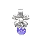 Кулон Бант со стеклянной колбой и лиловыми кристаллами, серебро