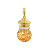 Стеклянная колба с кристаллами цвета Шампань, серебро с позолотой