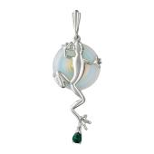 Кулон Ящерица с имитацией лунного камня, шпинелью и наноизумрудом, серебро с позолотой