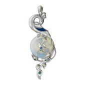 Кулон Павлин с имитацией лунного камня, шпинелью, нанотопазом и нанотурмалином, серебро