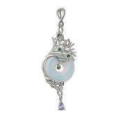 Кулон Веточка с имитацией лунного камня и наноизумрудами, серебро