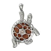 Подвеска Черепаха с авантюрином коричневым (золотистым) и фианитом, серебро