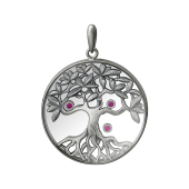 Кулон Дерево Жизни в стеклянном круге с плавающими фианитами, черненое серебро