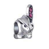 Шарм Любопытный Кролик с корундом рубиновым из серебра