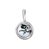 Подвеска Амулет птица на ветке с фианитами и стеклом, серебро