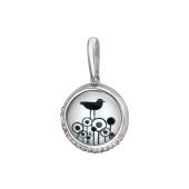 Кулон Амулет Птица с стеклом и фианитами, серебро