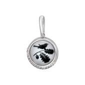 Кулон Амулет Синичка на дубовом листе со стеклом и фианитами, серебро